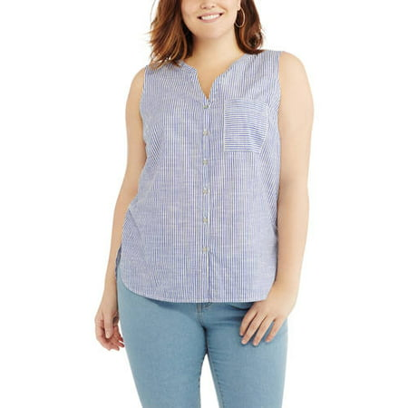 95e1daf1293ed Women s Plus Sleeveless Woven Shirt - Walmart.com