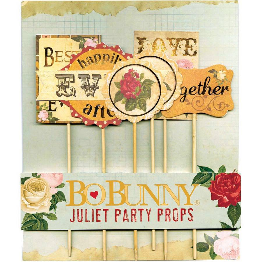 Juliet Party Props, 6pk, with Antique Gold Foil Accents