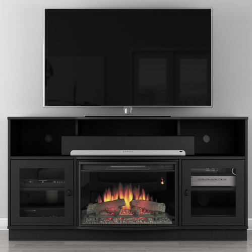 Furnitech Contemporary 64'' TV Stand with Fireplace