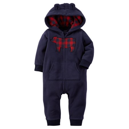 Carters Fleece Coverall (Carters Infant Boys Blue Bear Themed Hooded Fleece Jumpsuit Coverall Outfit )