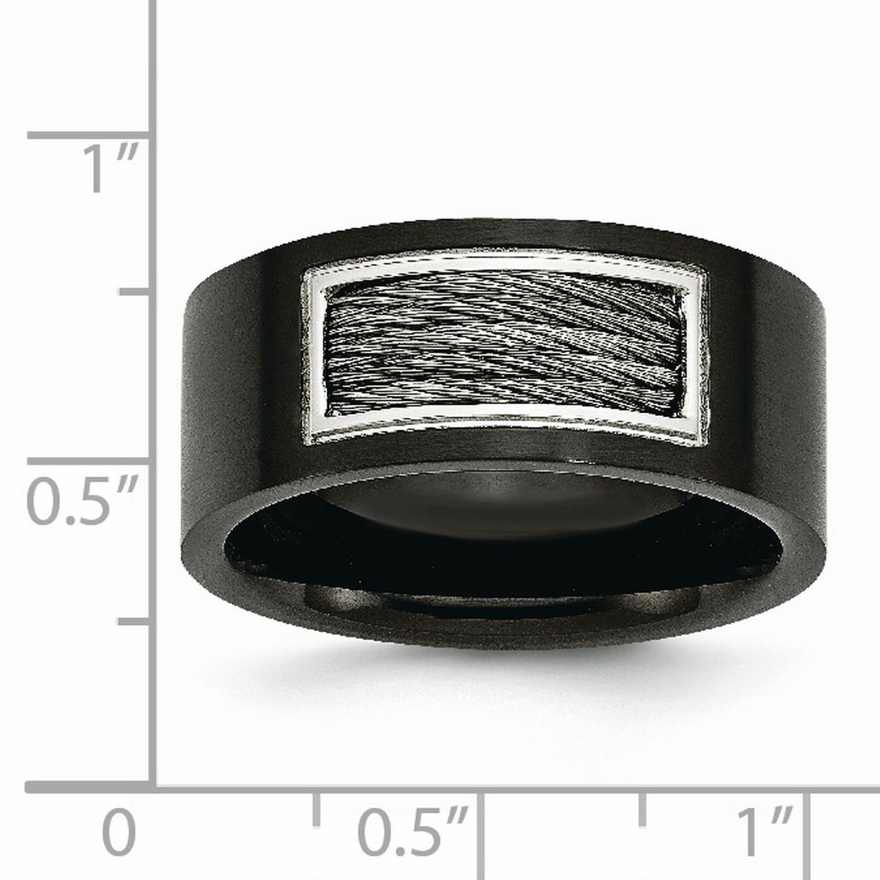 Stainless Steel Black Plated Wire Inlay Band Ring Size 9.00 Wedding Type Of Fashion Jewelry Gifts For Women For Her - image 3 of 7