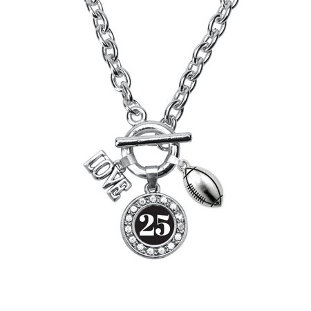 My Sports Number Circle Charm Football Toggle Necklace- Number 25 ()