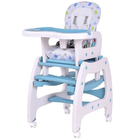 Costway 3 in 1 Baby High Chair Convertible Play Table Seat Booster Toddler Feeding Tray (Blue Stripe High Chairs)