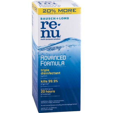 Bausch + Lomb ReNu Advanced Triple Disinfect Formula Multi-Purpose Eye Contact Lens Solution, 12 fl oz (Vampire Contact Lenses)