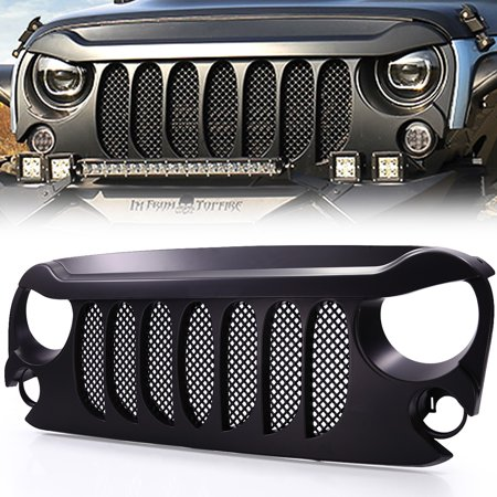 Jaxpety Front Grid Grille W/Mesh for Jeep Wrangler Rubicon Sahara Sport JK JKU 2007-2017