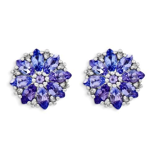 Sterling Silver 1.25ct Rhodium Plated Diamond Tanzanite Post Earrings