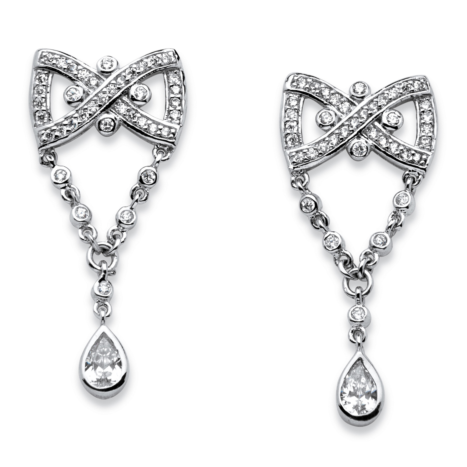 1.59 TCW Pear Drop Cubic Zirconia Vintage-Style Bow Tie Earrings in Platinum-Plated Finish