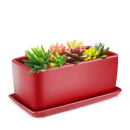 10 Inch Rectangular Ceramic Succulent Planter Pot - Cactus Herb Flower Container Window Box Holder with Removable Drip Tray Base for Tabletop Desktop Indoor Outdoor Home Office Garden (Window Flower Box)