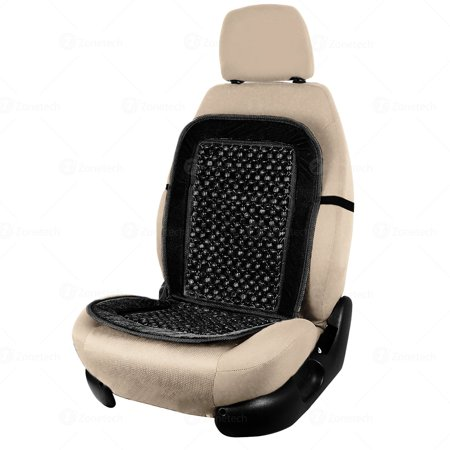 Zone Tech Black Wooden Beaded Plush Velvet Seat Cover  Ultra Comfort Car Seat