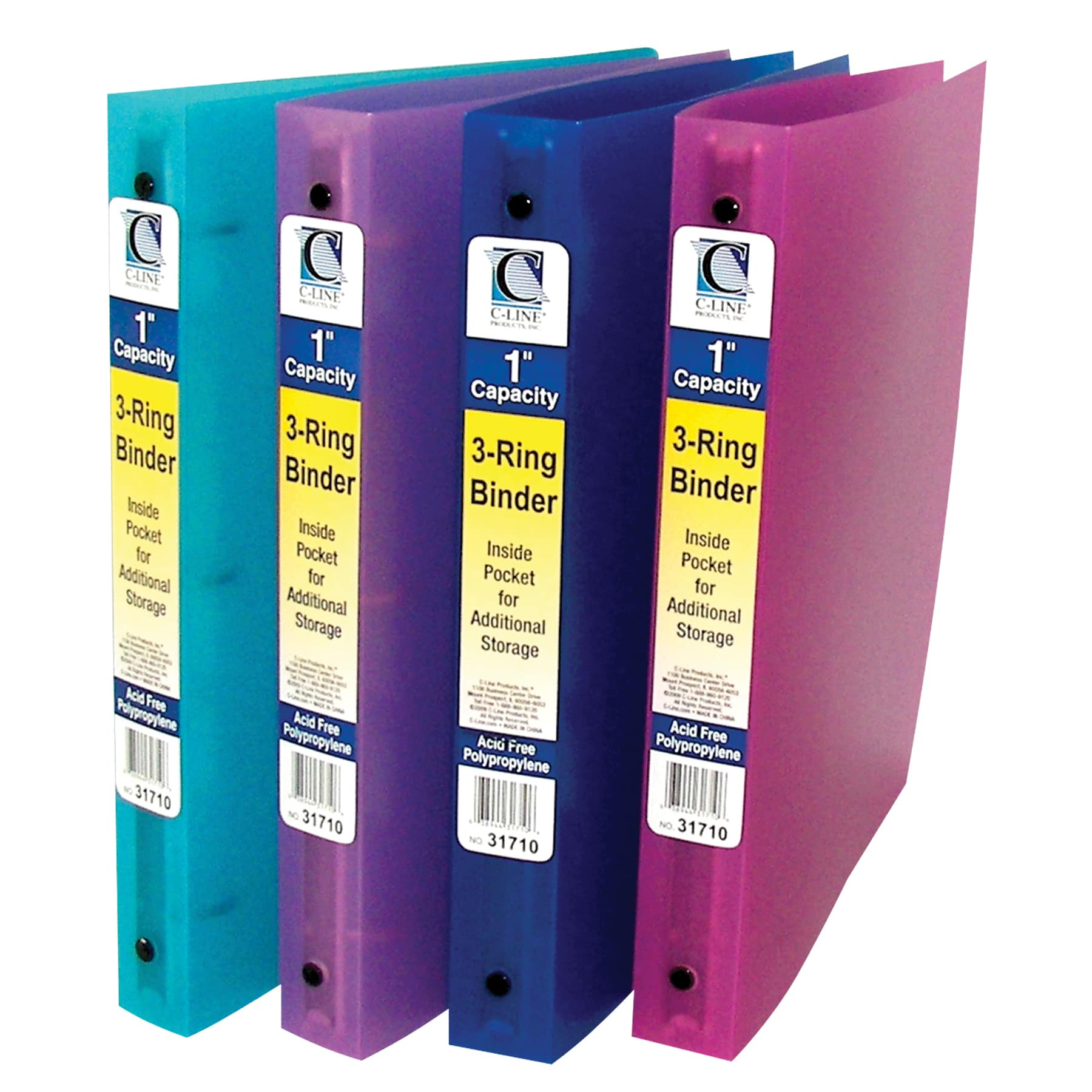 C-Line Products 3-Ring Poly Binder, 1 Inch Capacity (Color May Vary) (Set of 6 Binders) by Overstock
