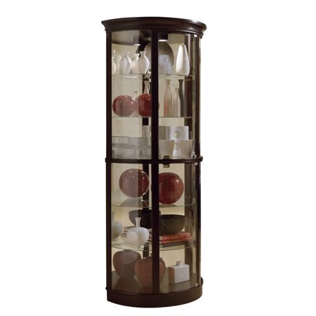- Pulaski Chocolate Cherry II Half Round Curio in Brown