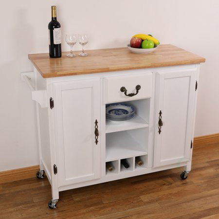 large wooden kitchen island trolley with heavy duty rolling casters. Black Bedroom Furniture Sets. Home Design Ideas