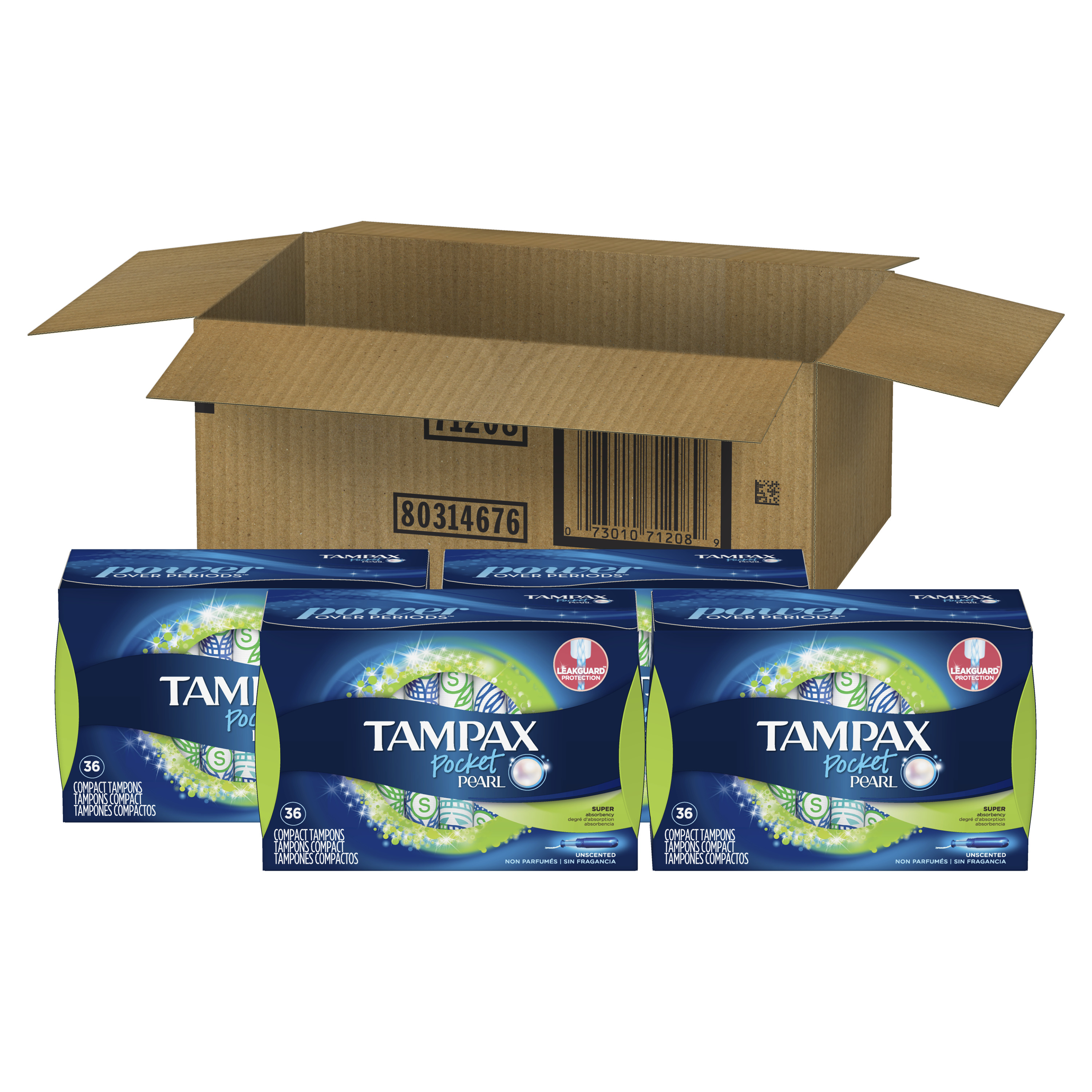 Tampax Pocket Pearl Plastic Tampons, Super Absorbency, Unscented, 144 Count