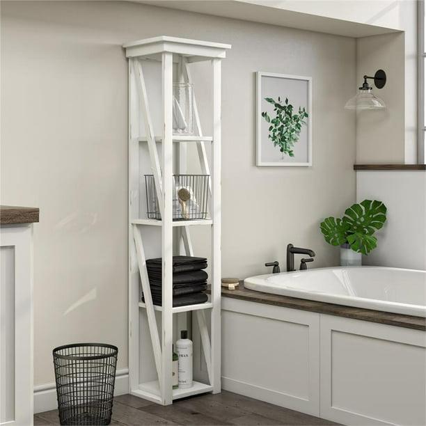 System Build Crestwood 4 Open Shelves, Bathroom Storage Tower