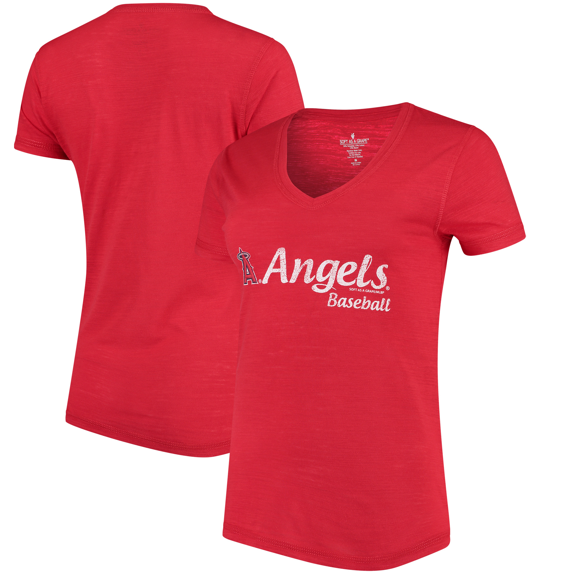 Los Angeles Angels Soft As A Grape Women's Double Steal Tri-Blend V-Neck T-Shirt - Red