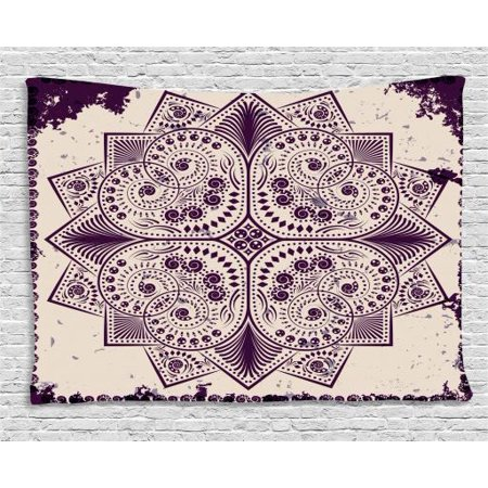 Purple Mandala Tapestry, Snowflake Form Inspired Geometric Design on Grungy Background, Wall Hanging for Bedroom Living Room Dorm Decor, 60W X 40L Inches, Dark Purple and Eggshell, by Ambesonne