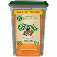 Greenies Feline Dental Natural Cat Treats, Oven Roasted Chicken Flavor, 11 oz. Tub