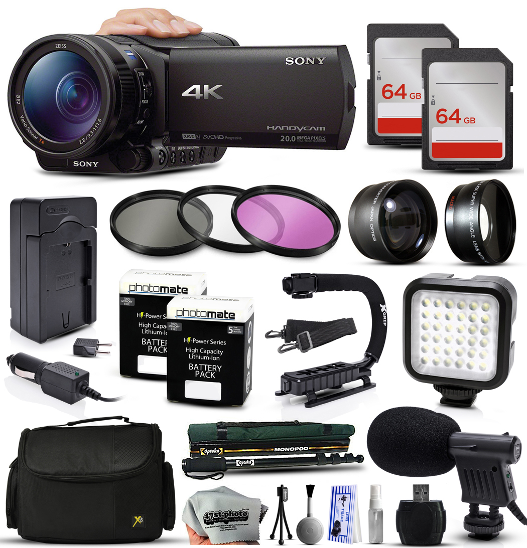 Sony FDR-AX100 4K Ultra HD Handycam Camcorder Video Camera + 128GB Memory + Travel Charger + 3 Filters + 2... by Sony