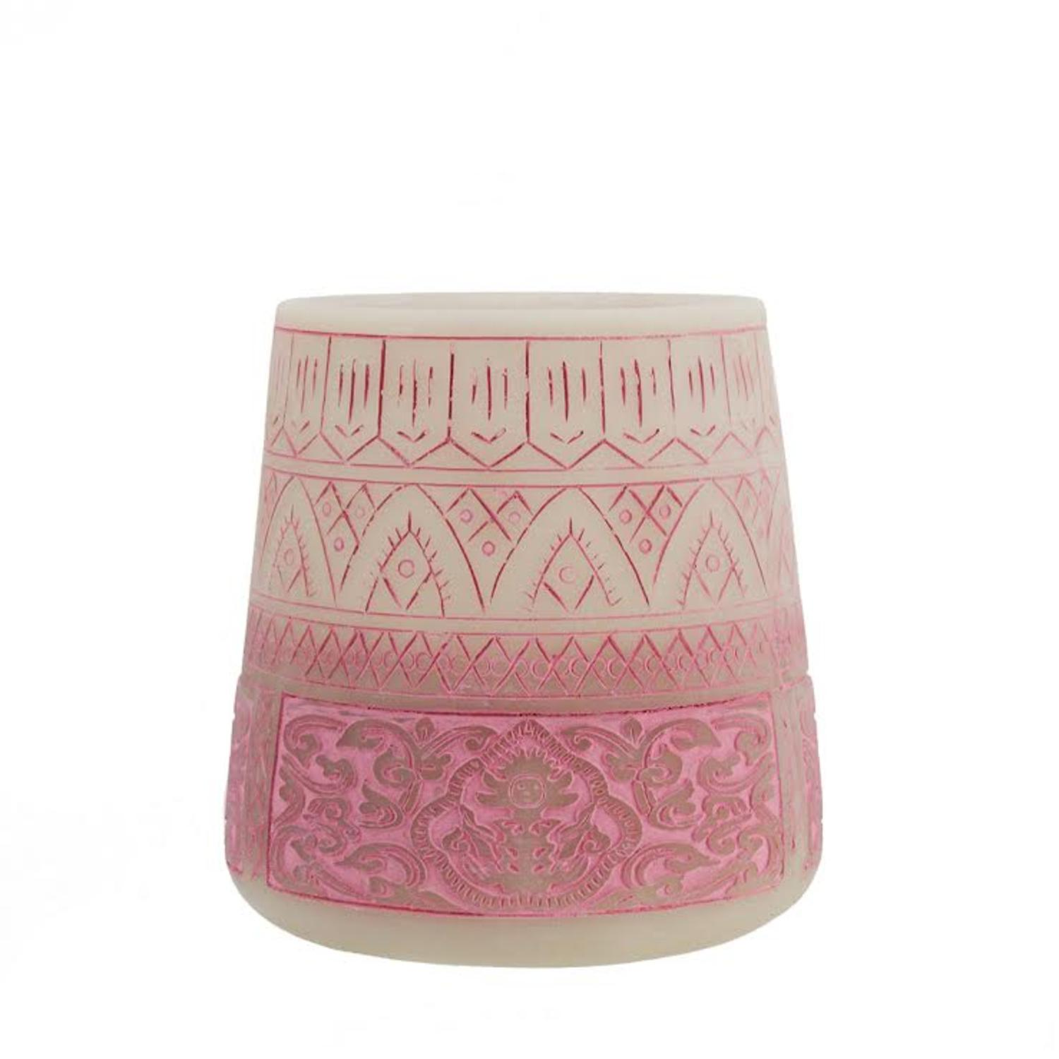 Midwest 5.5 Petit Bazaar Etched Moroccan Pink Decorative Pillar Candle Holder