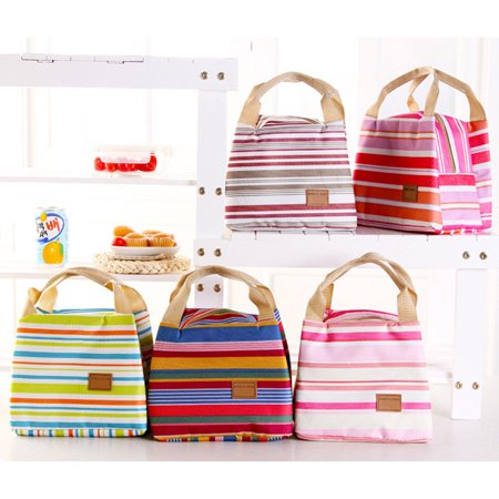 Yosoo Fashion Insulated Thermal Cooler Striped Lunch Bag Travel Bag Picnic Carry Tote Case