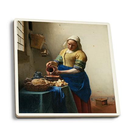 Adult Milkmaid (The Milkmaid - Masterpiece Classic - Artist: Johannes Vermeer c. 1660 (Set of 4 Ceramic Coasters - Cork-backed,)