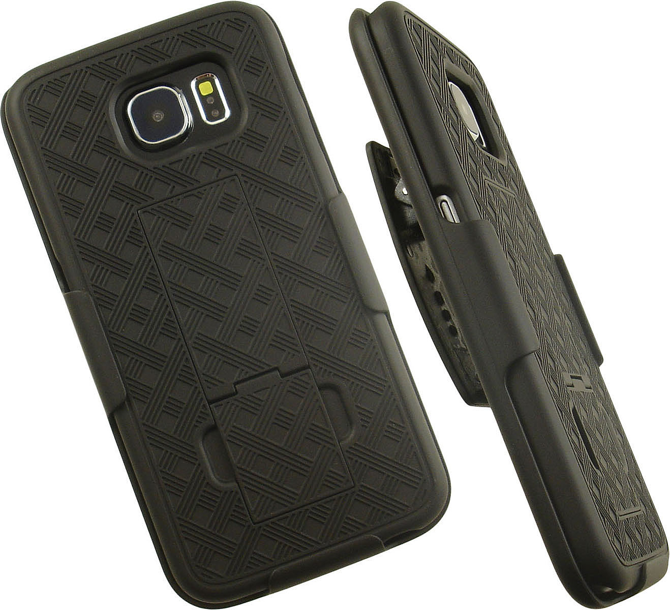 NAKEDCELLPHONE'S BLACK KICKSTAND TEXTURED HARD CASE COVER + BELT CLIP HOLSTER STAND FOR SAMSUNG GALAXY S6 PHONE  (SM-G920)