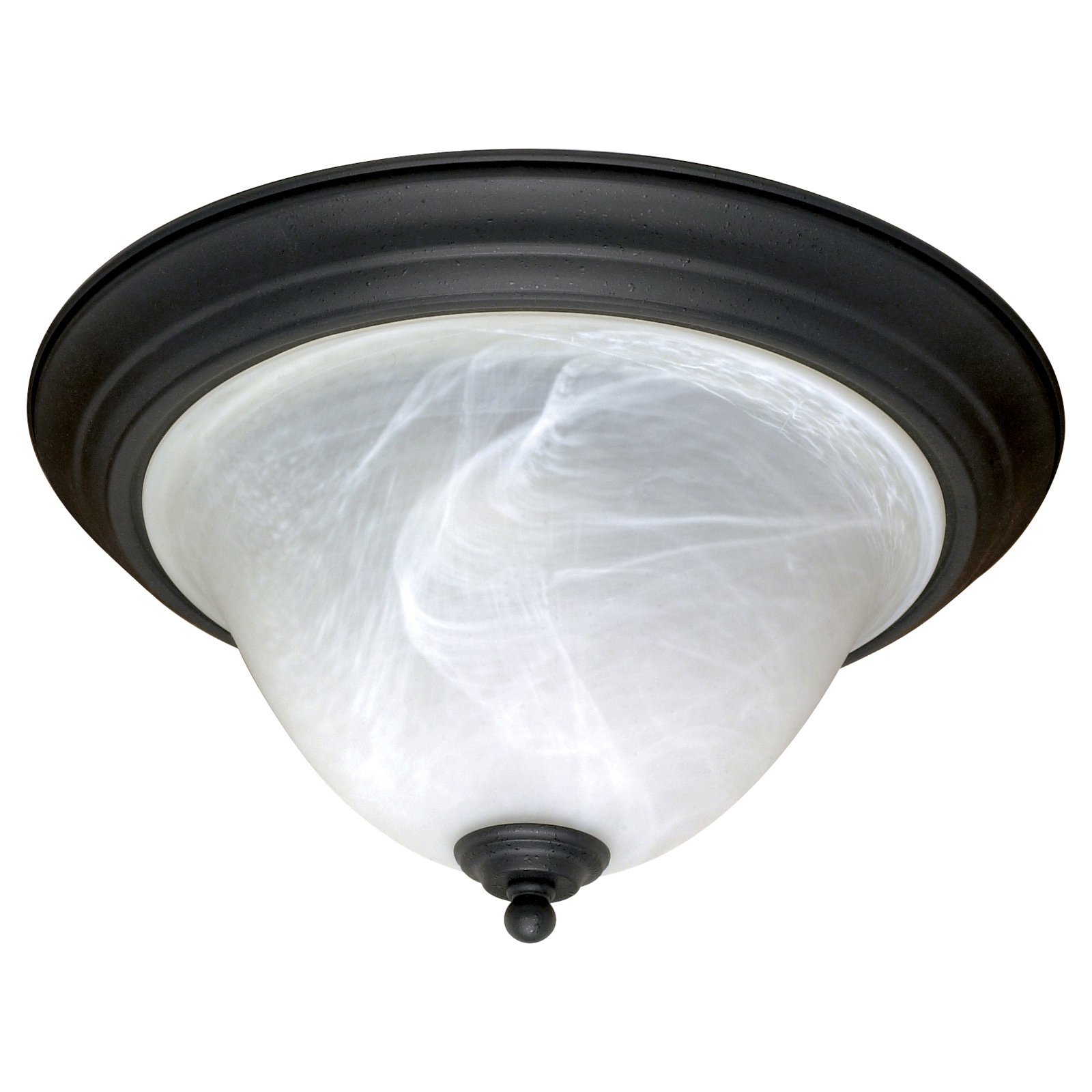 "Nuvo Lighting 60383 - 2 Light (Medium Screw Base) 15.25"" Castillo Flush Mount Textured Flat Black Finish with Alabaster Swirl Glass Ceiling Light Fixture (60-383)"
