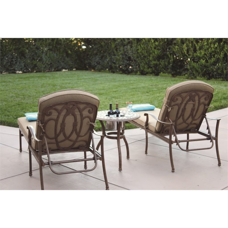 Darlee Florence 3 Piece Patio Chaise Lounge Set with Cushion