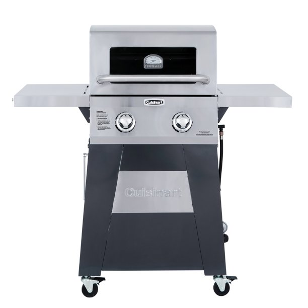 Cuisinart Two Burner Gas Grill with Stainless Foldable Side Tables
