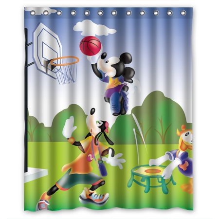 Deyou Mickey Mouse And Donald Duck Shower Curtain Polyester Fabric Bathroom Shower Curtain Size