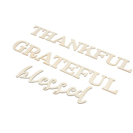 Thankful Grateful Blessed Sign - Unfinished Wood Inspirational Quotes Wall Sign, Decorative Letter Cutout for Home, Sunday School, Church, Thanksgiving Decoration, DIY -