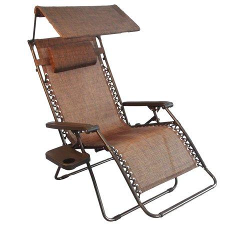 Jeco Inc Oversized Brown Zero Gravity Chair With Sunshade