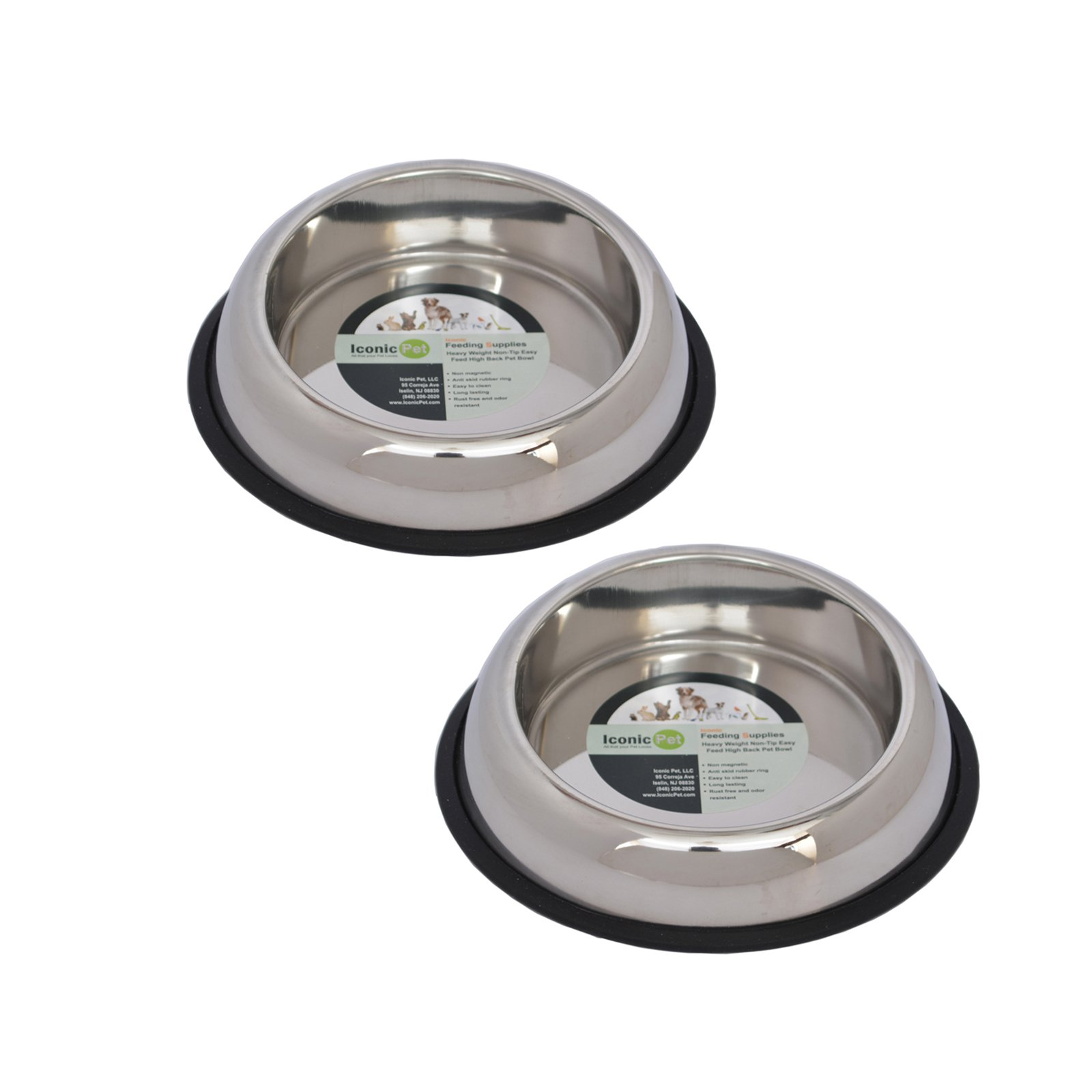 2-Pack Heavy Weight Non-Skid Easy Feed High Back Pet Bowl For Dog Or Cat, 16 Oz, 2 Cup