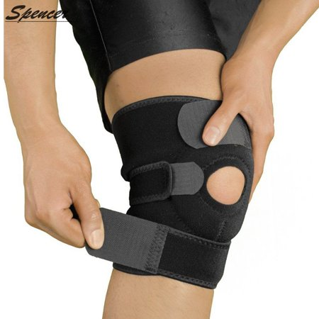 Spencer Knee Support Brace for Men Women, Open Patella Knee Stabilizer Compression Sleeves with Adjustable Wrap for Meniscus Tear, Arthritis, Running, Basketball and