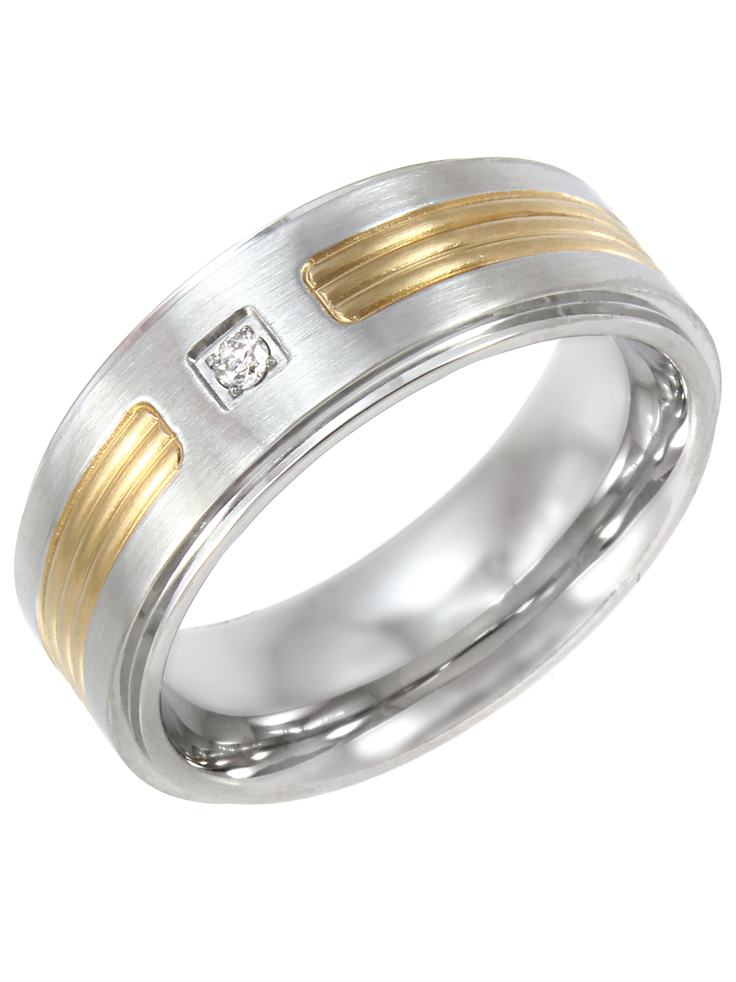 Men's Stainless Steel 8MM Diamond Accent Two-Tone Wedding Band - Mens Ring