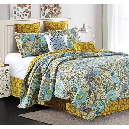 - Reversible Floral Contemporary Quilt Set