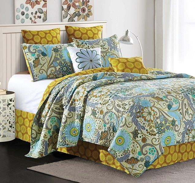 "Reversible Floral Contemporary Quilt Set ""Carine"" - King Size"