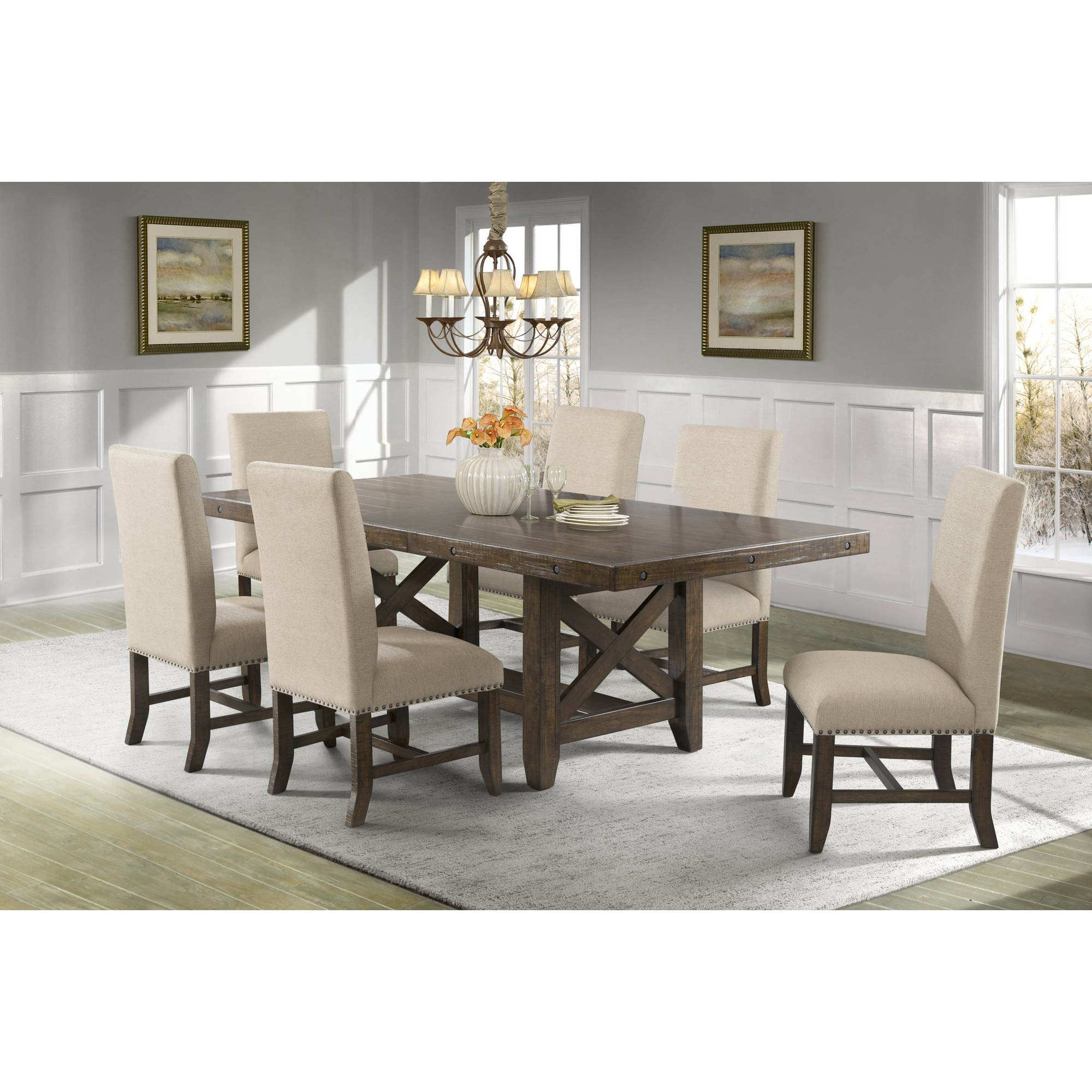 Picket House Furnishings Francis 7-Piece Dining Set-Table and 6 Fabric Side Chairs