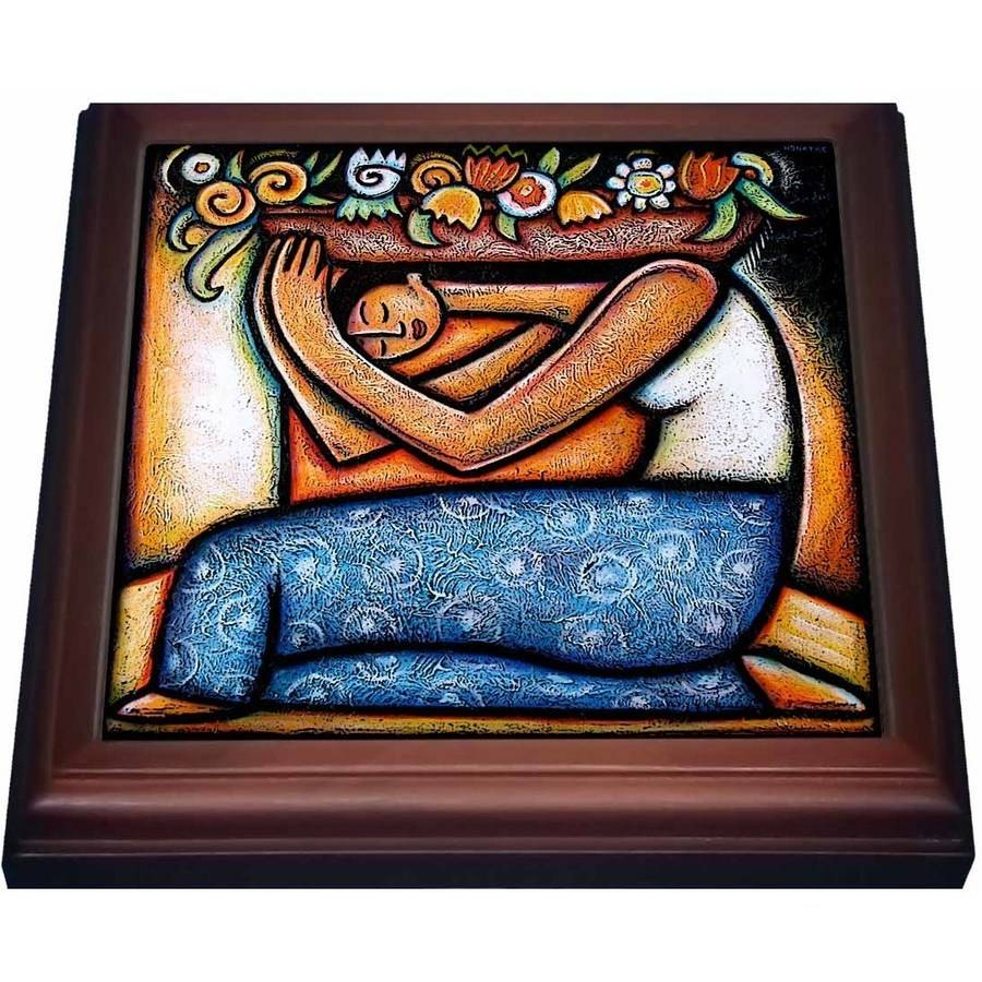 3dRose Flower Girl mexican art colorful , Trivet with Ceramic Tile, 8 by 8-inch