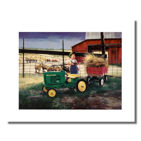 Boy John Deere Tractor Working Farm #1 Wall Picture 8x10 Art Print (John Deere Boys Room Decor)
