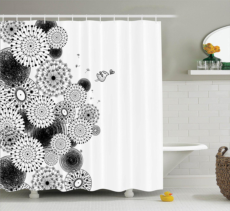 The Black Bear Theme Waterproof Fabric Home Decor Shower Curtain Bathroom Mat