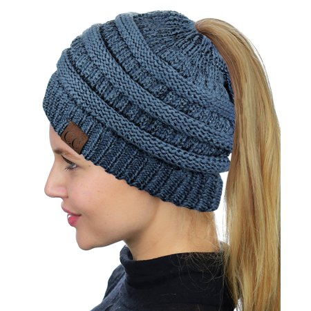 83211bd5856 C.C BeanieTail Soft Stretch Cable Knit Messy High Bun Ponytail Beanie Hat