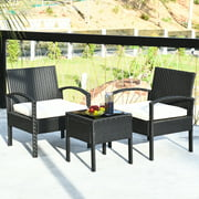 Costway 3PCS Patio Rattan Furniture Set Table & Chairs Set with Seat Cushions Garden
