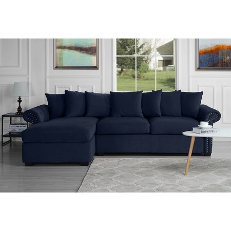 Modern Large Tufted Velvet Sectional Sofa, Scroll Arm L-Shape Couch ...