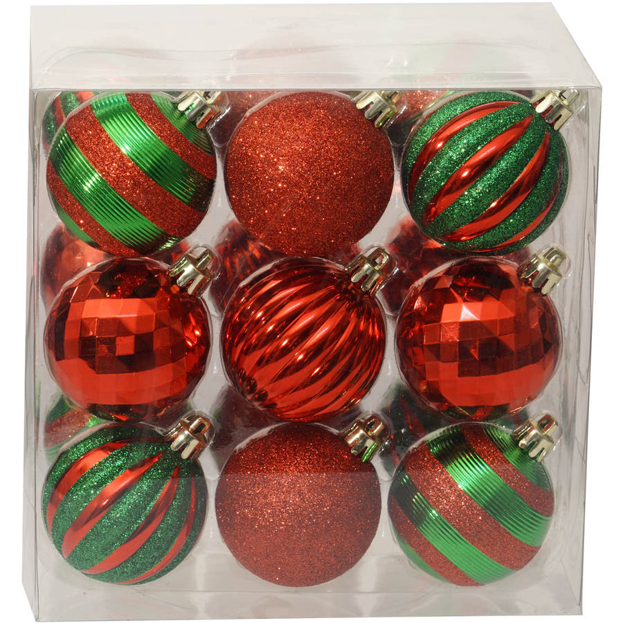 Holiday Time Christmas Ornaments Traditional 60mm Shatterproof ...