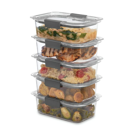 Rubbermaid Brilliance Food Storage Container, 3.2 Cup, 5 Pack
