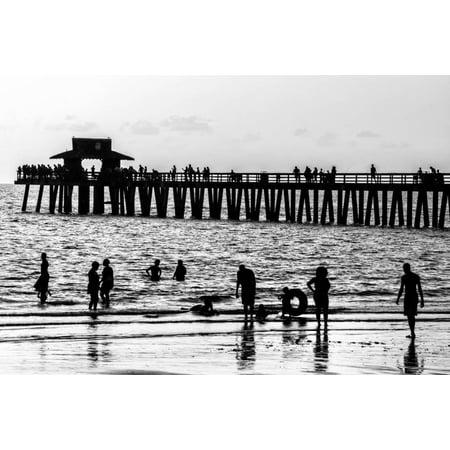Beach Scene - Naples Florida Pier at Sunset Print Wall Art By Philippe Hugonnard - Naples Long Beach Halloween