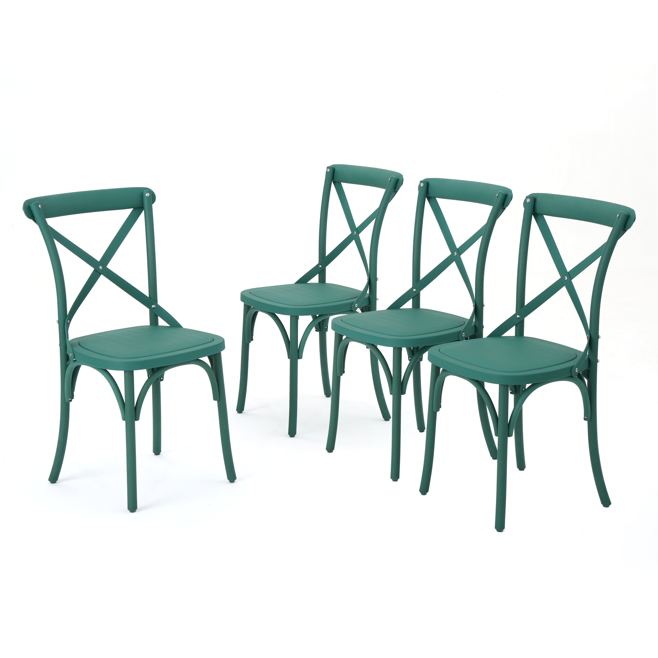 Ernie Outdoor Plastic Nylon Dining Chairs, Set of 4, Magnolia Green