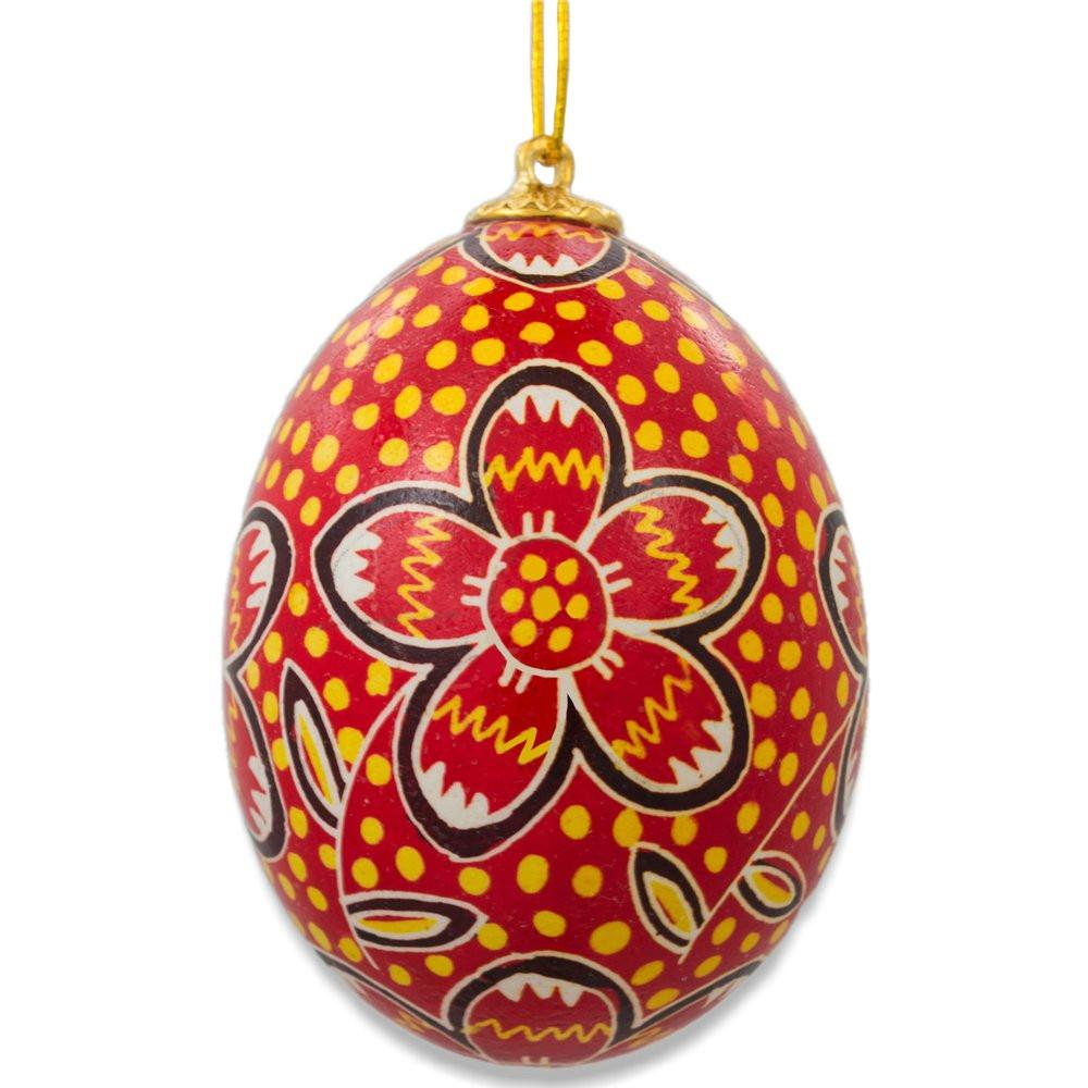 Floral Chicken Size Blown Real Ukrainian Easter Egg Pysanky Ornament