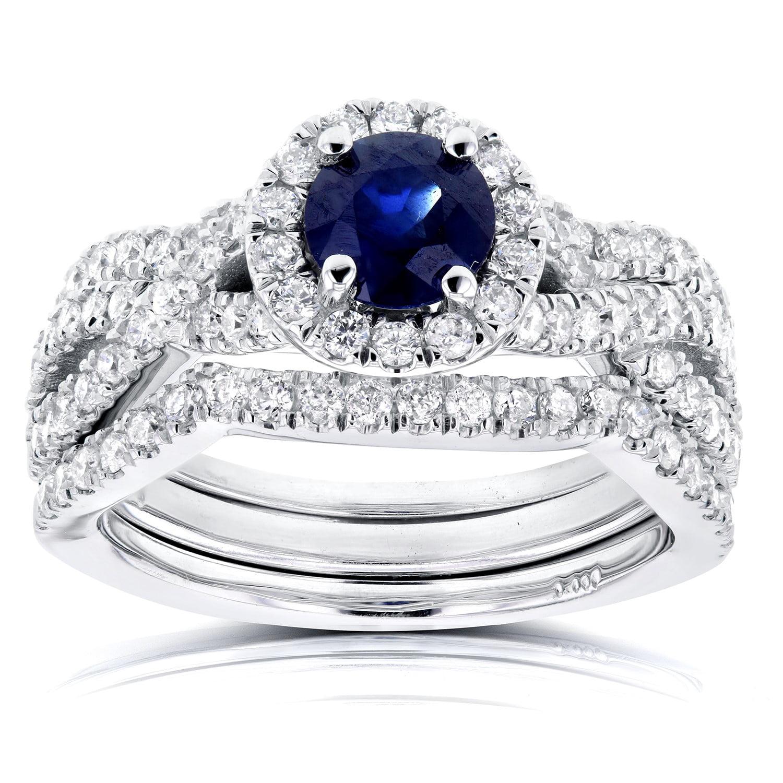 Round Sapphire and Halo Diamond Criss Cross Bridal Set 1 2 5 CTW in 14k White Gold (3 Piece Set) by Kobelli
